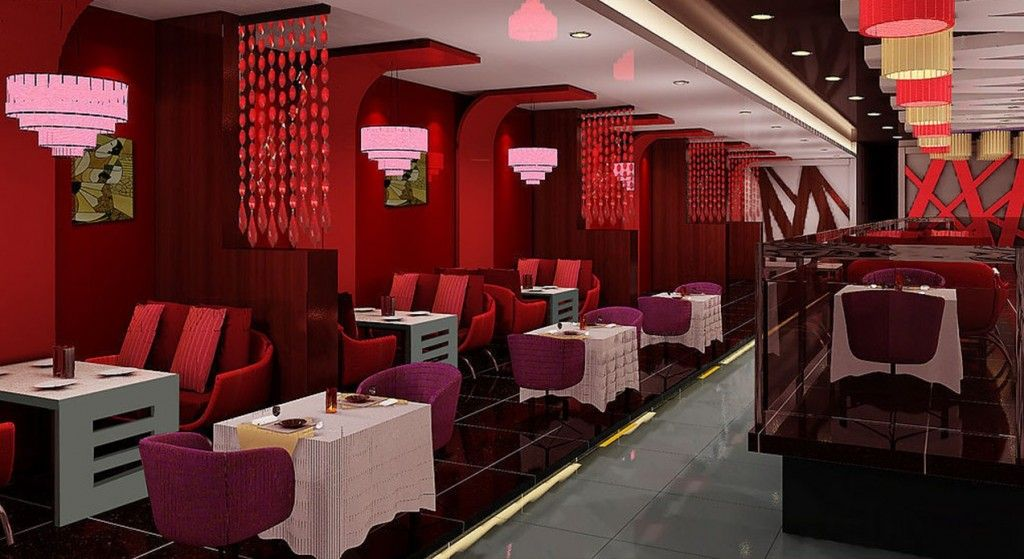 Interior Elegant Sweet Red Restaurant Design Combined With Lovely Pink Pendant Lamp And Some Stylish Dining Table On Glowing Black Ceramic Floor Delicious