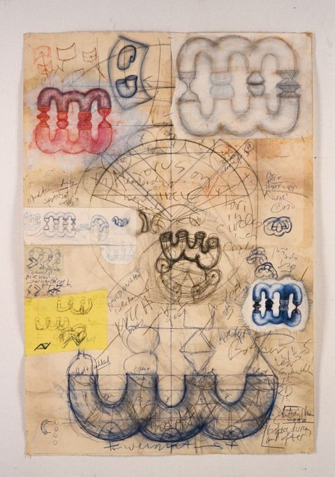 "John Newman, ""Gujarati drawing"", 2000, 44"" x 30"", collage, pencil, colored pencil, chalk on paper"