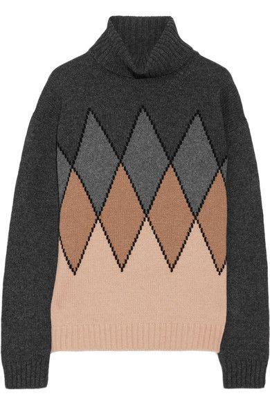 Prada | Argyle camel hair turtleneck sweater | NET-A-PORTER.COM