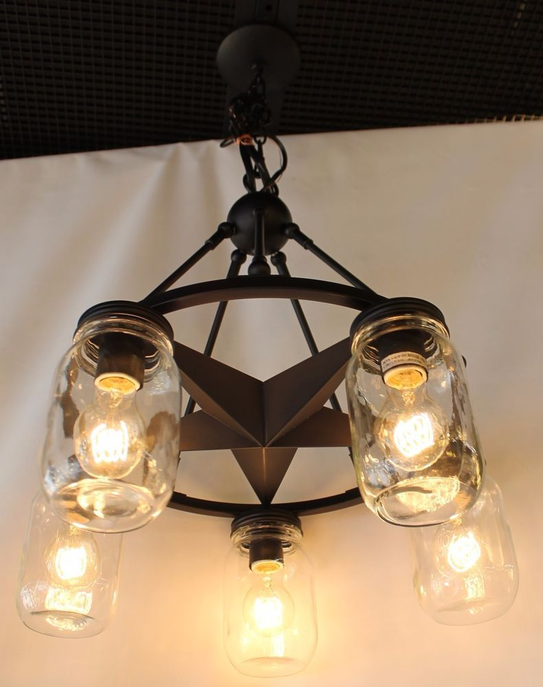 5 light lone star chandelier with clear mason jar lighting glass in Dark Bronze & 5 light lone star chandelier with clear mason jar lighting glass ... azcodes.com