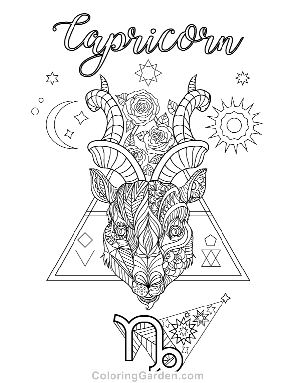 Free printable Capricorn (zodiac) adult coloring page