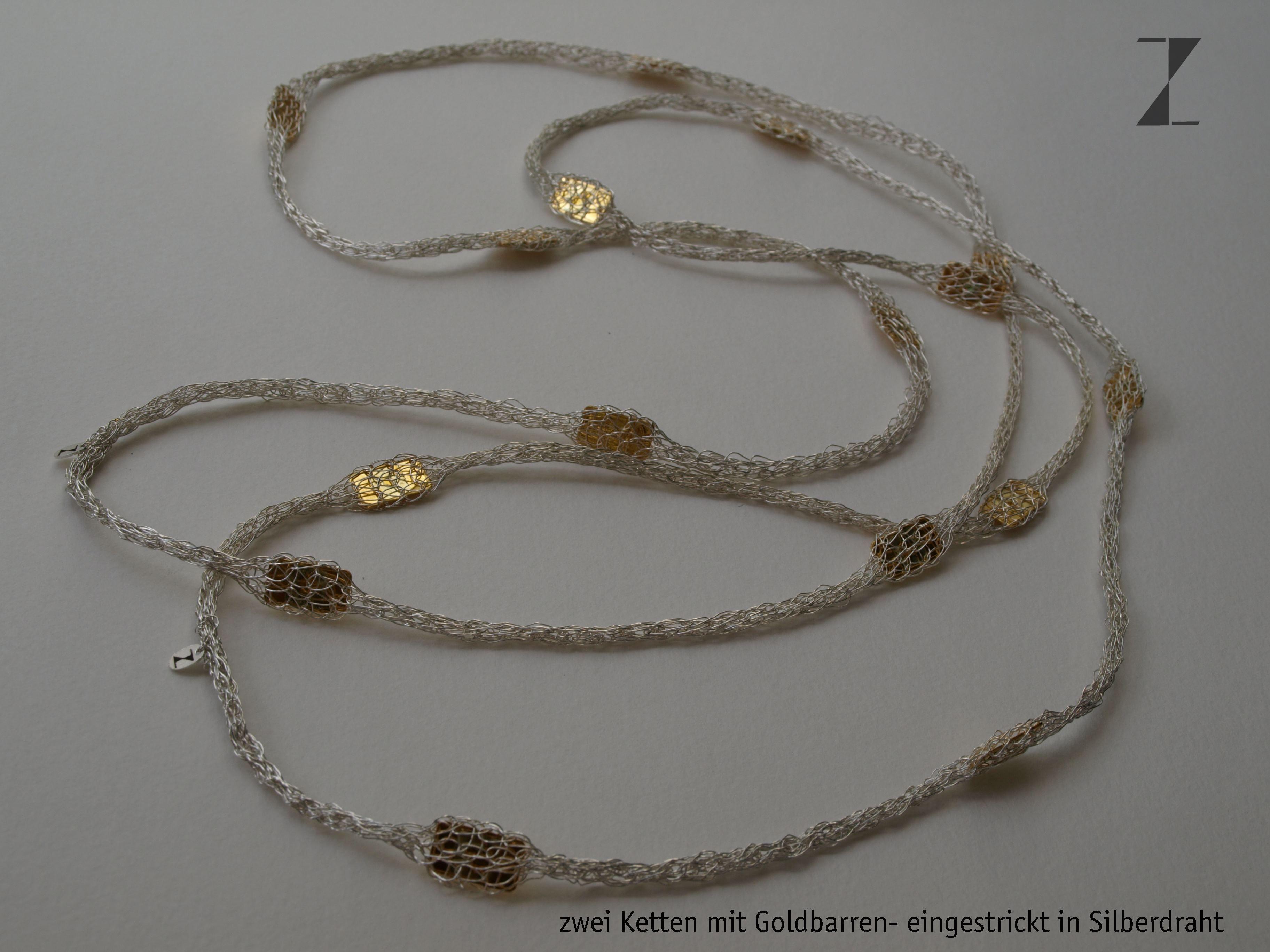 Ketten mit Goldbarren - eingestrickt in Silberdraht www.atelier ...