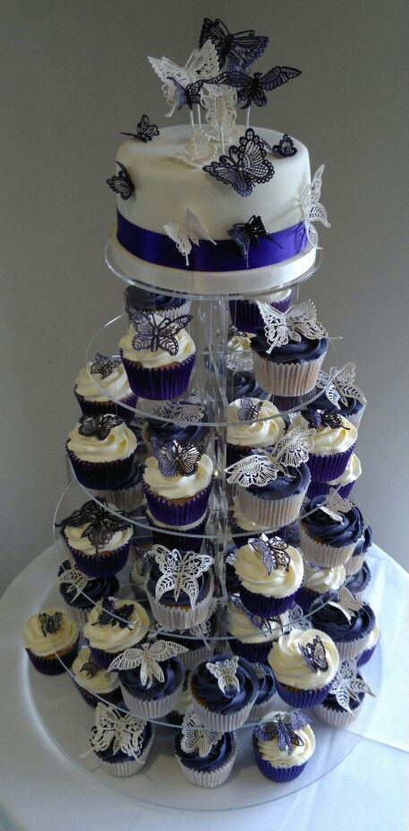 6vanilla Sponge Wedding Cake With 70 Lace Butterfly Cupcakes X