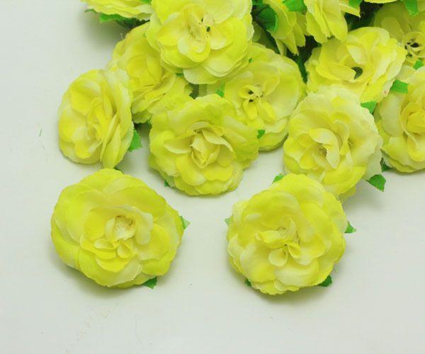 50pcs new yellow rose artificial silk flower heads bulk wedding 50pcs yellow rose artificial silk flower heads bulk wedding party decor 5cm mightylinksfo