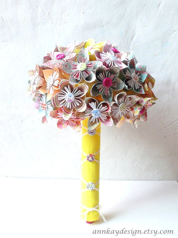 Origami Bridal Bouquet Kusudama Paper Flowers and by Buttons by AnnKayDesign