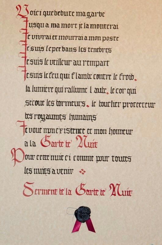 Serment De La Garde De Nuit : serment, garde, Épinglé