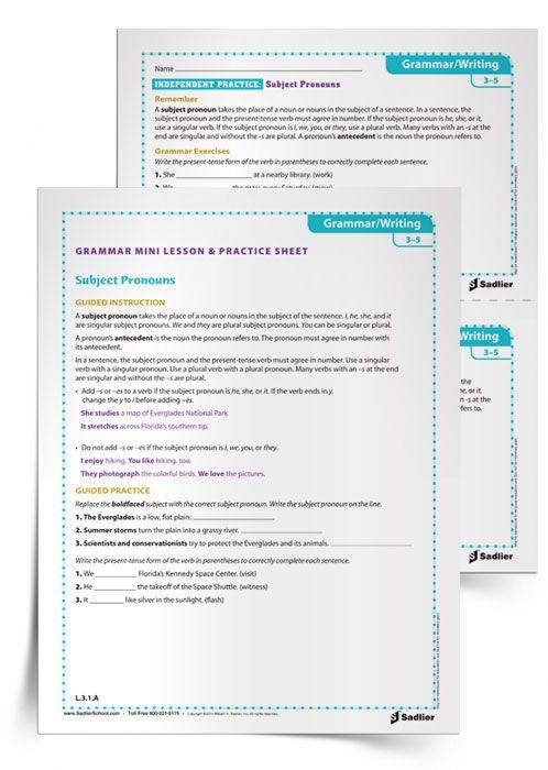 Grammar Mini Lesson Practice Sheet Subject Pronouns Grades 3 5 Simple Subject And Predicate Subject And Predicate Simple Subject