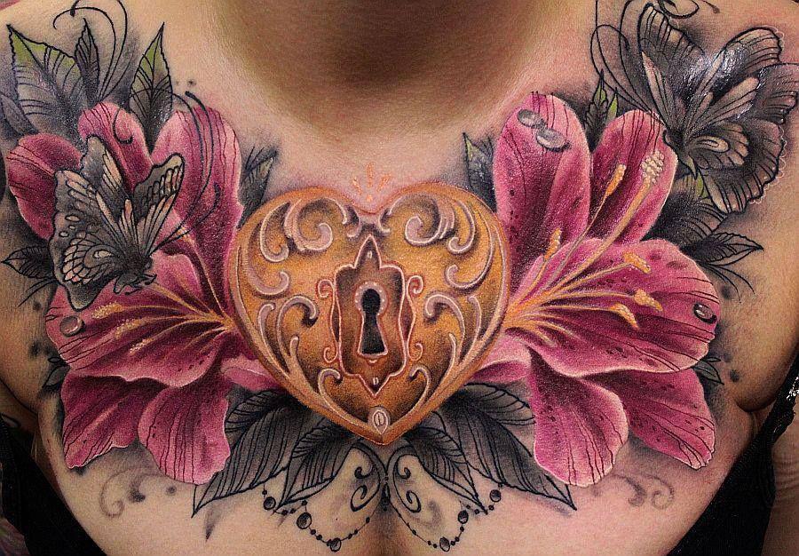 Chest Tattoos For Women, Locket