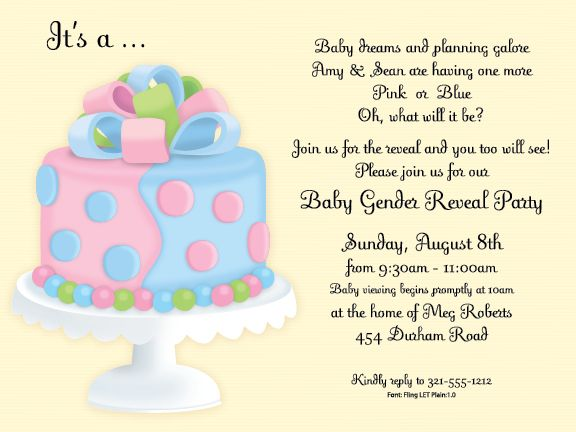 twins gender announcement cake | baby shower invitations, Baby shower invitations