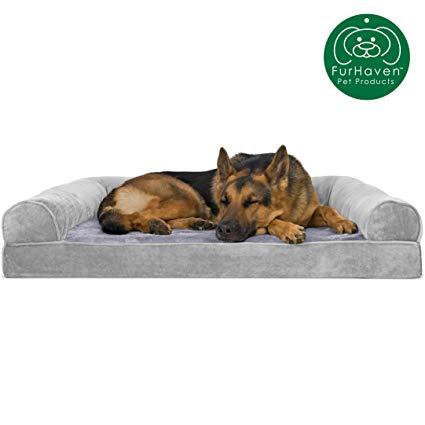 Amazon Com Furhaven Pet Dog Bed Orthopedic Faux Fur Velvet Traditional Sofa Style Living Room Couch Pet Bed Couch Pet Bed Orthopedic Dog Bed Dog Pet Beds