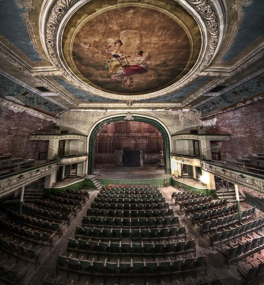 The Orpheum Auditorium in New Bedford, Massachusetts opened on the same day that the Titanic Sunk, April 15, 1912. A supermarket uses some of the building, the rest is deserted.
