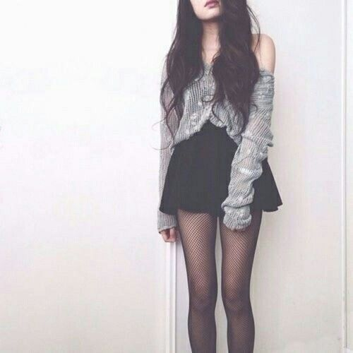 black skirt • gray sweater • strapless • black tights • teen • fashion • style • cute • clothes • outfit