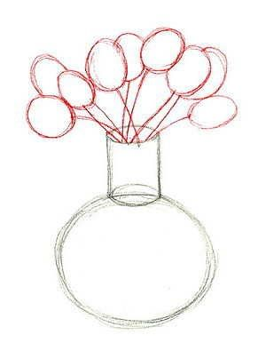 Blumenvase Mit Tulpen Malen Drawing Flowers And Vases Drawings