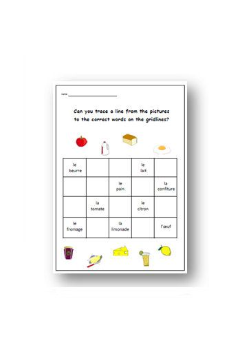 french worksheet kids learning sheet food and drinks grid classroom learn french french. Black Bedroom Furniture Sets. Home Design Ideas
