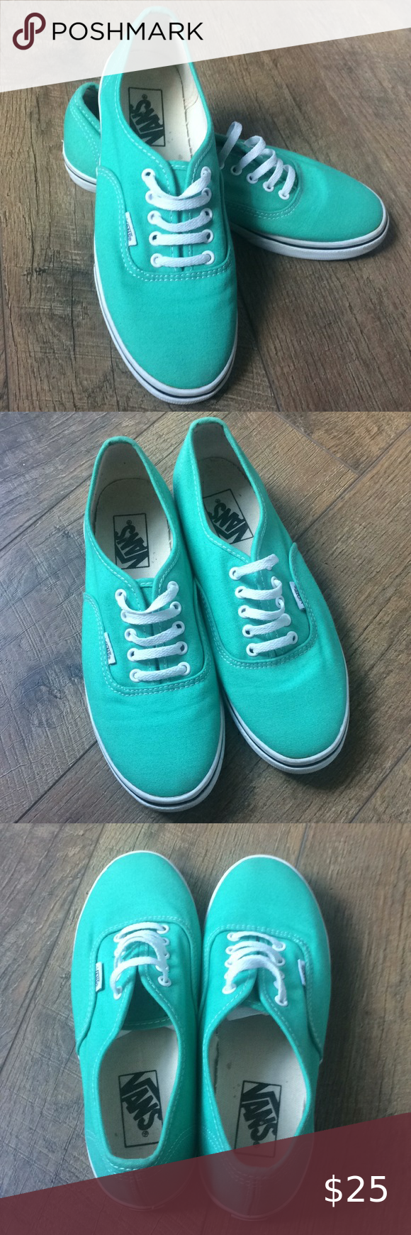 Vans aqua/teal low-top shoes sneakers