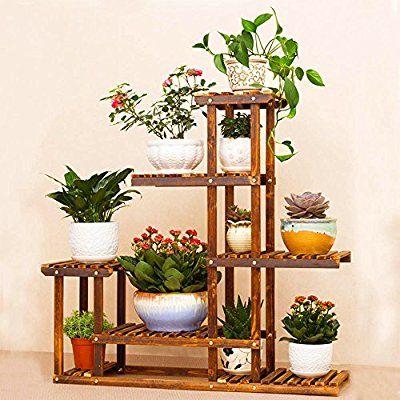 Malayas scaffale fioriera per 6 vasi da fiori in legno for Scaletta portavasi
