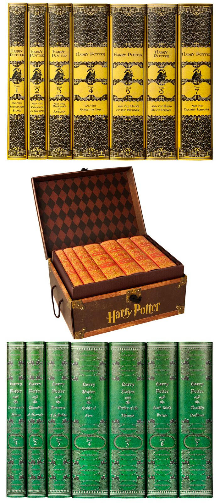 Harry Potter Book Sets Decorated In Hogwarts Houses Are Remarkably Beautiful Harry Potter Book Set Harry Potter Books Series Harry Potter Collection