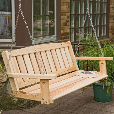 Porch Swing On Wooden Porch Swings Great American Woodies Cypress
