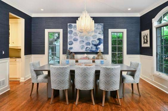 Navy blue dining room decor ideas domino deep navy grasscloth and architectural moldings make for a well coveted interior