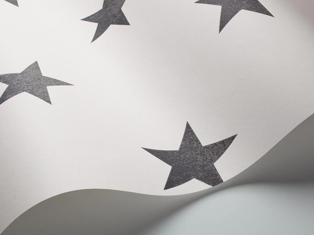 Papel pintado estrellas vintage de color negro telas for Papel pintado estrellas