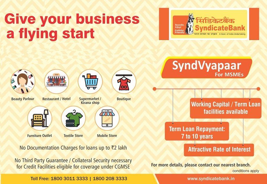 Apply for Syndvyapaar loan for MSMEs by Syndicatebank