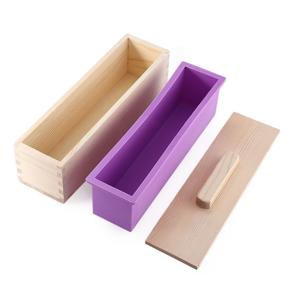 Silicone Soap Mold Rectangle Wooden Box DIY Toast Loaf Baking Cake Mold Cutter