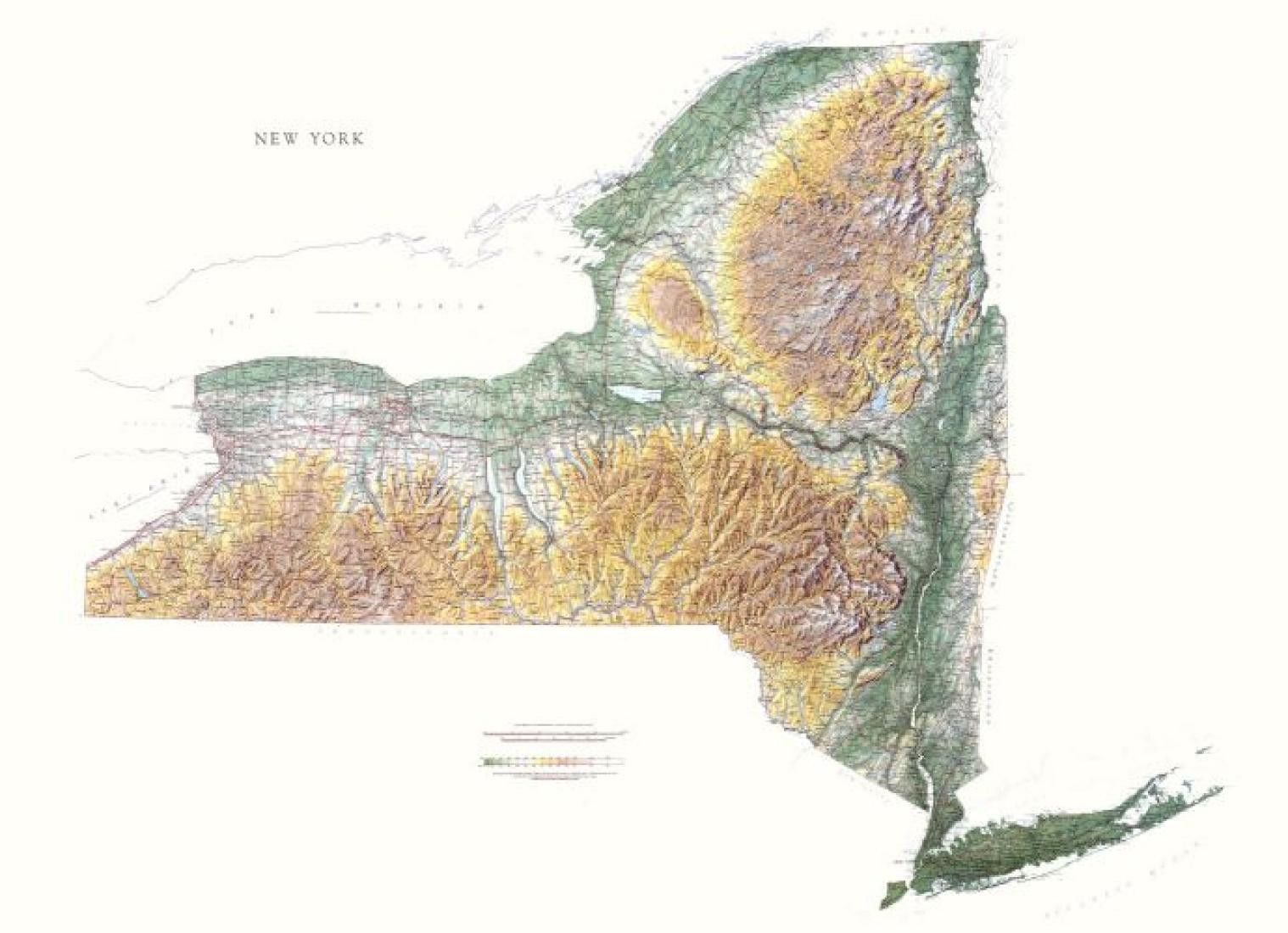new york physical laminated wall map by raven maps map on laminated wall maps id=87115