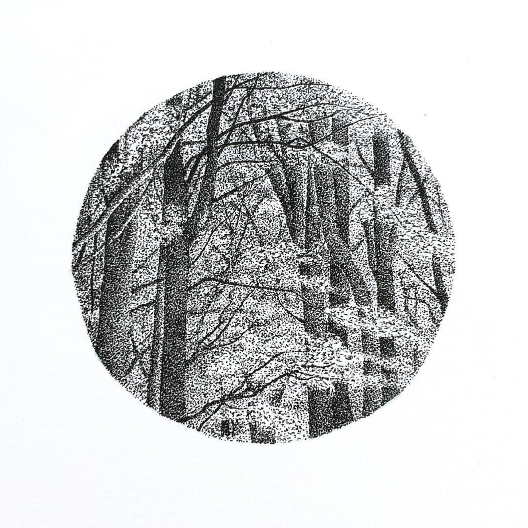 Black and white drawing of a forest. Dots, dots and more dots!
