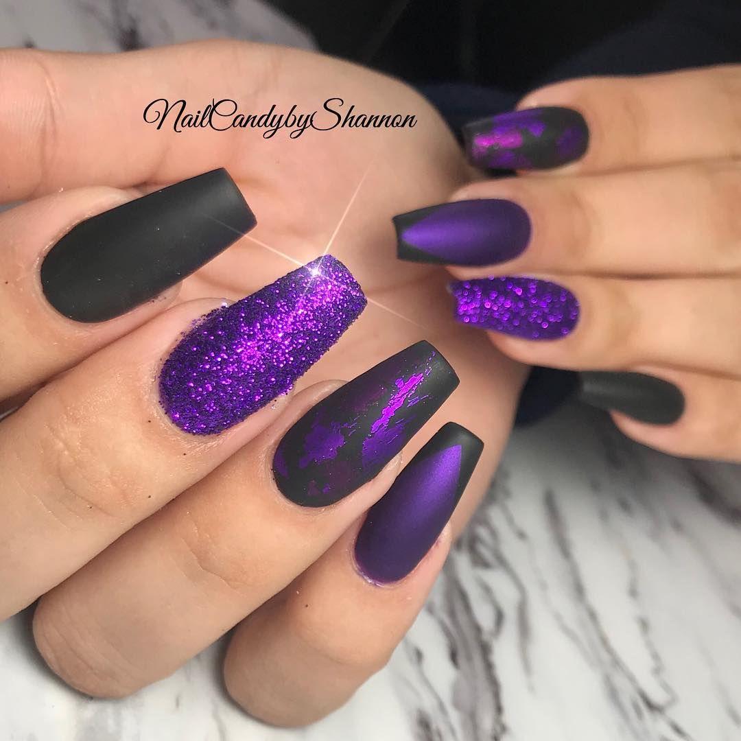 34 Impressive Black Coffin Nail Designs Purple Nail Designs Black And Purple Nails Purple Acrylic Nails
