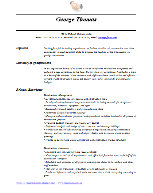 international level resume samples for international jobs