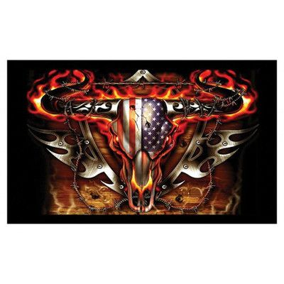 NeoPlex Flaming Bull Skull USA Flag