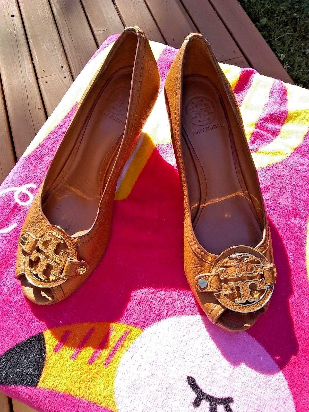 bfc71924b TORY BURCH Sally 2 Peep Toe Wedge Heels Tan Gold Shoes 8.5 M ...