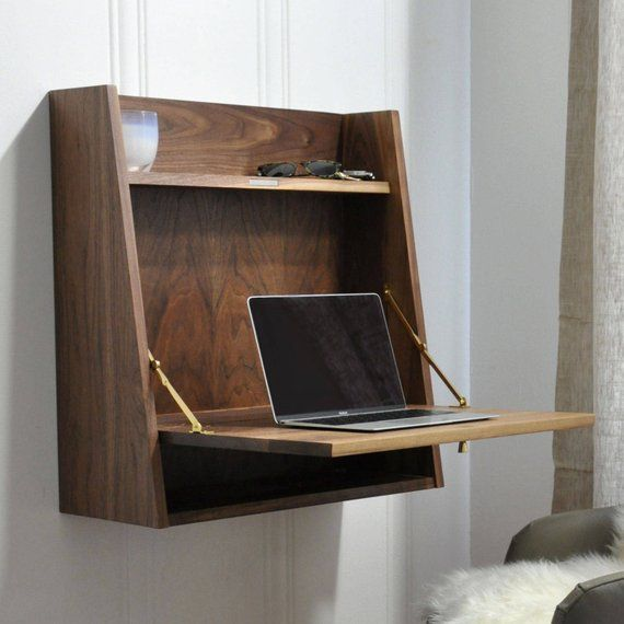 Handmade Wall Hanging Desk Secretary Desk Personal Cabinet
