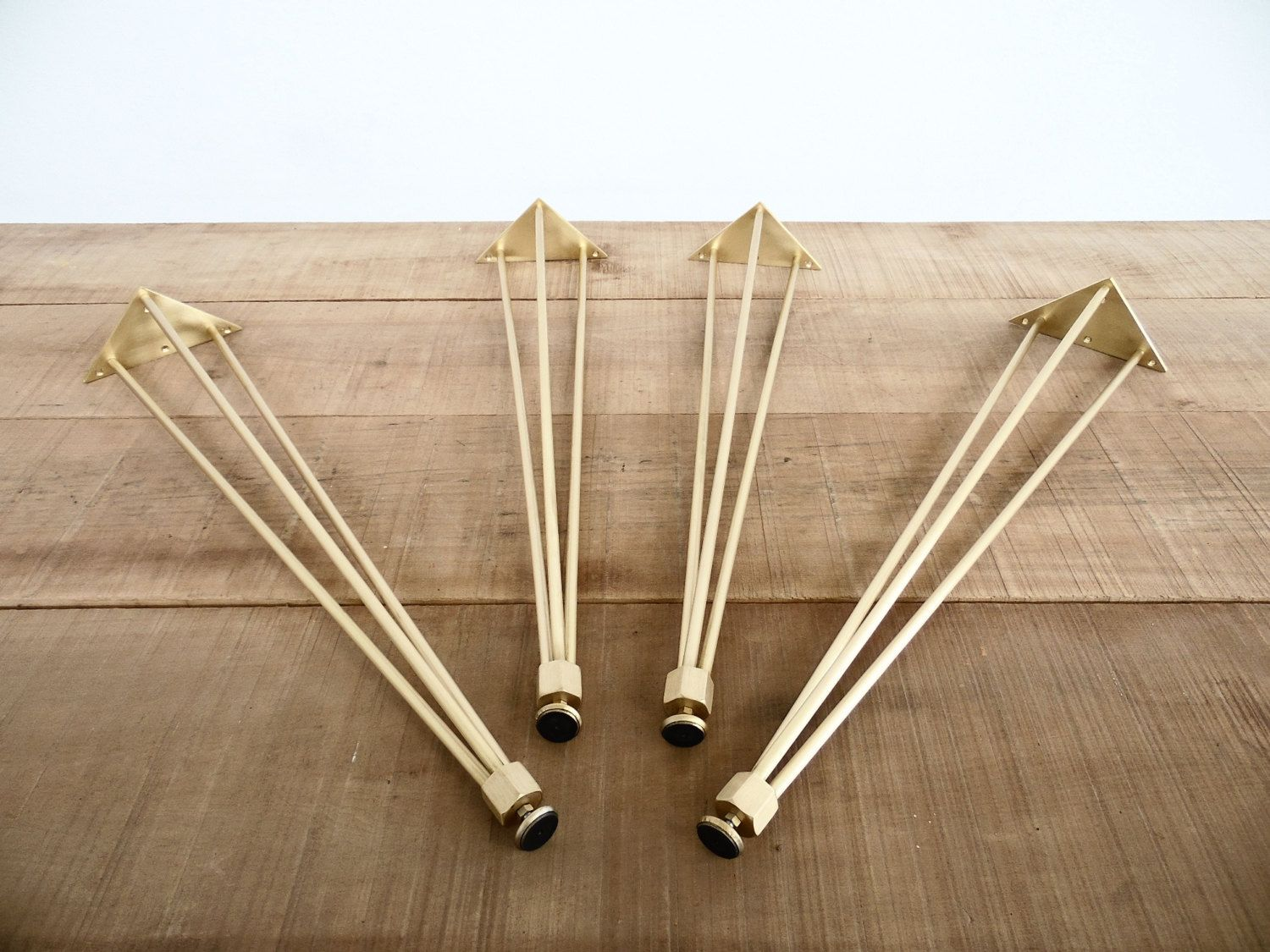 """28"""" 3pinnuts Table Legs, Brass, Height 26"""" To 32"""" Set(4"""