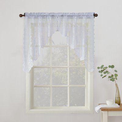 No 918 Alison Kitchen Curtain Swag Valance Pair White Valance Valance Curtains Kitchen Curtains