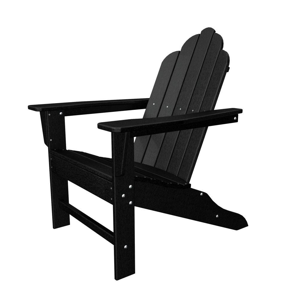 Polywood Long Island Black Plastic Patio Adirondack Chair Eca15bl