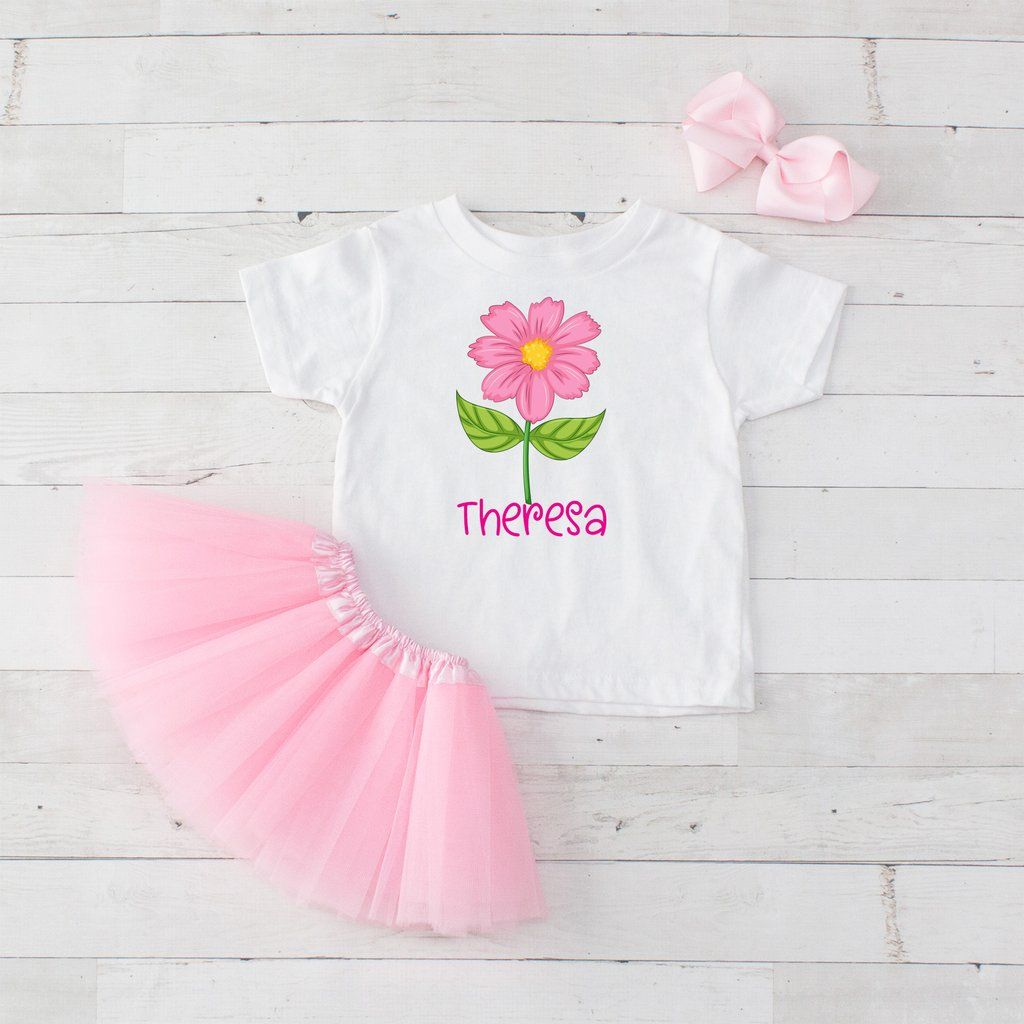 f1973a91d6f8 Big Pink Flower - 3pc Personalized Graphic Shirt and Tutu Set ...