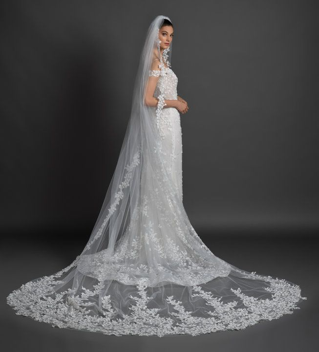 72eb2213856c Style 3914 Olivia Lazaro bridal gown - Ivory petal embroidered tulle over  sparkle net and Chantilly