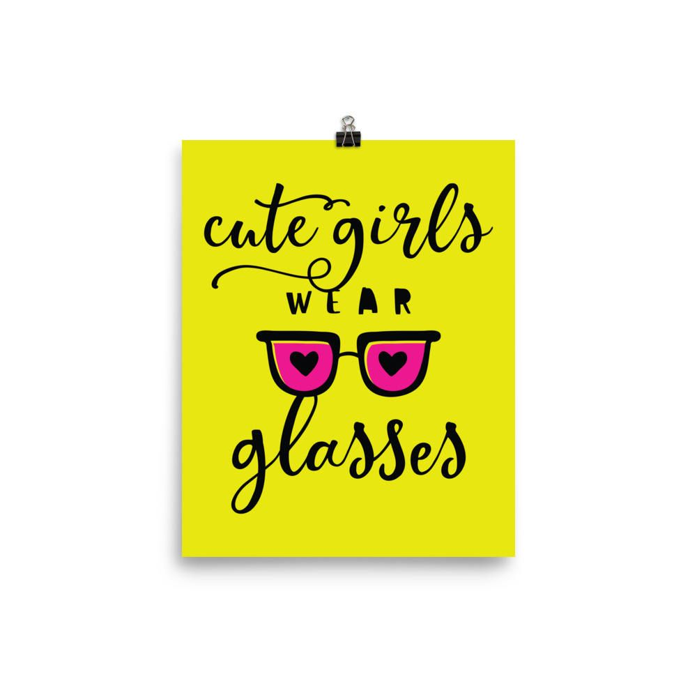 Wall Decor Wall Hanging Cute Girls Wear Glasses Trendy Quote Art ...