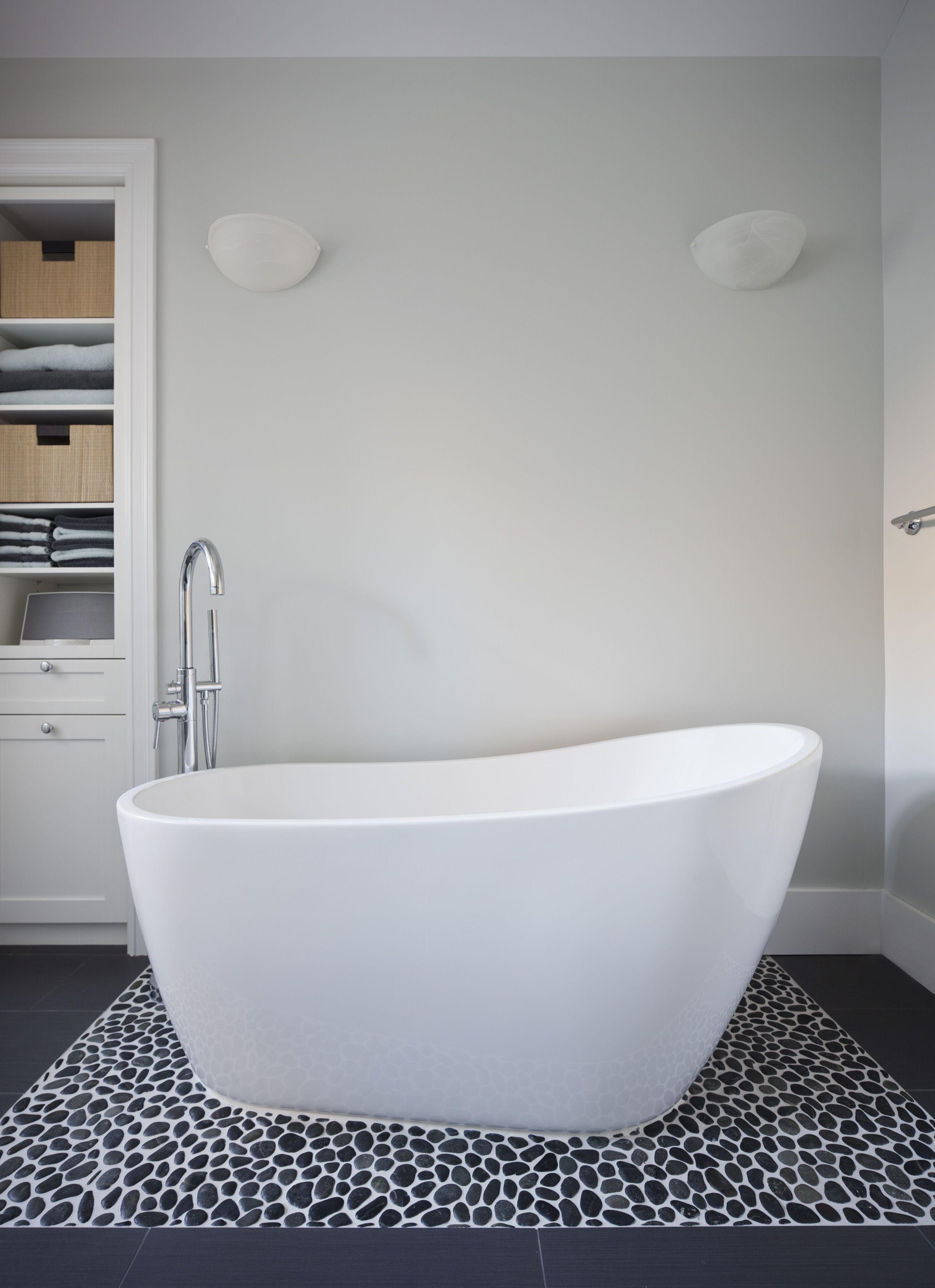 Soaking tub and river rock tile | Portage Bay Playroom and More by ...