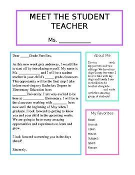 letter template meet the student teacher  Meet the Student Teacher Template | Teacher introduction ...