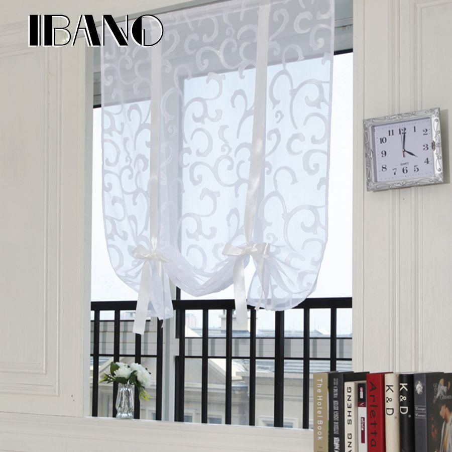 Roman Curtains Shade European Embroidered Style Tie Up Window Curtain Kitchen Voile Sheer Tab Top