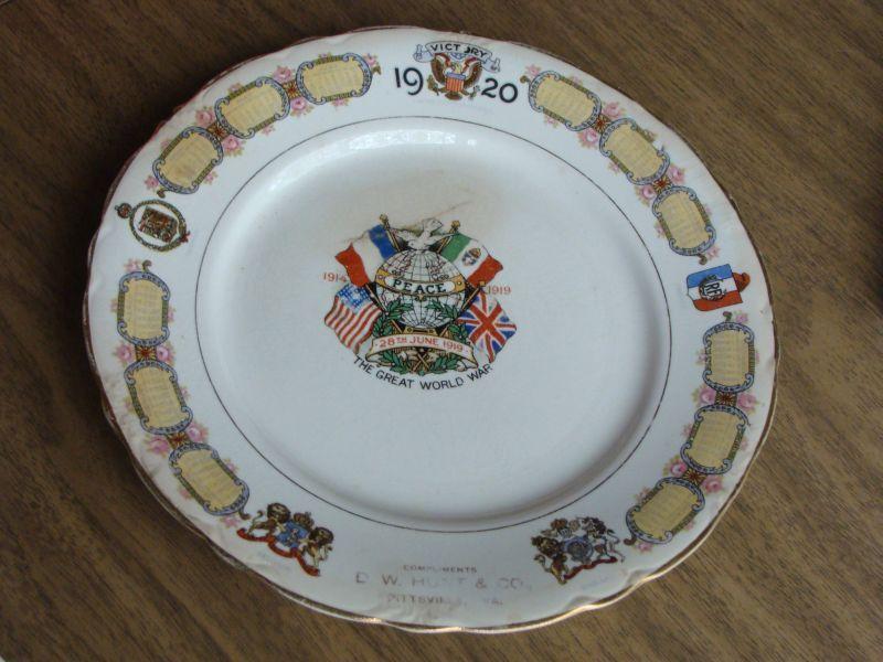 Antique Calendar Plate McNicol1920 World War 1 Victory DW Hunt Co ...