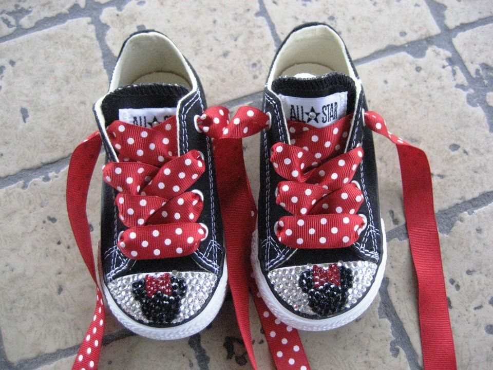 Cute kids shoes made from a simple pair of black converse