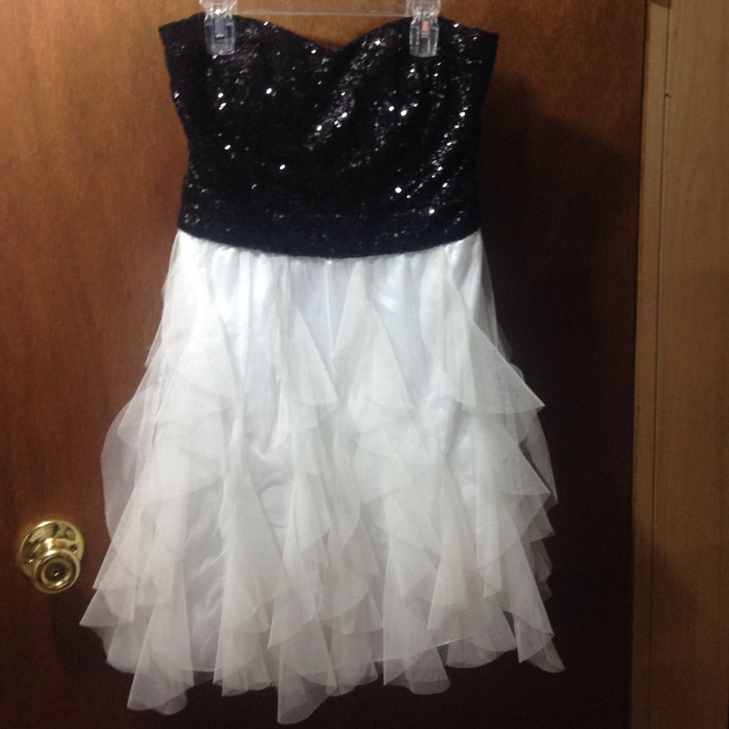 Sequined black and white homecoming dress white homecoming dresses