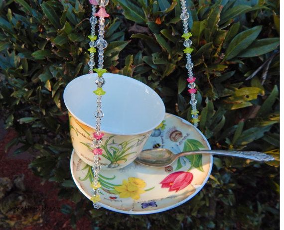 Vintage Teacup Hanging Bird Feeder With by JunqueHouseDesigns