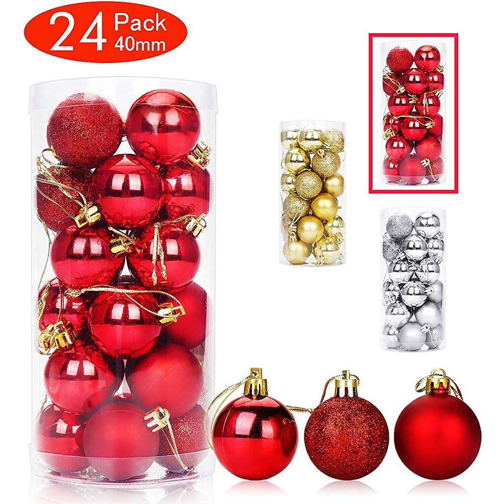 Aitsite 24 Pack Christmas Tree Ornaments Set 1 57 Inches Mini Shatterproof Holiday Ornaments Balls For Christmas Christmas Decoration Items Christmas Decorations For The Home Christmas Tree Ornaments