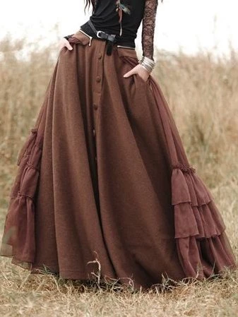 Long Skirts Casual Solid Cotton-Blend Skirts for Women | dress | Coffee Casual Cotton-Blend Dress – Fashion – buy these