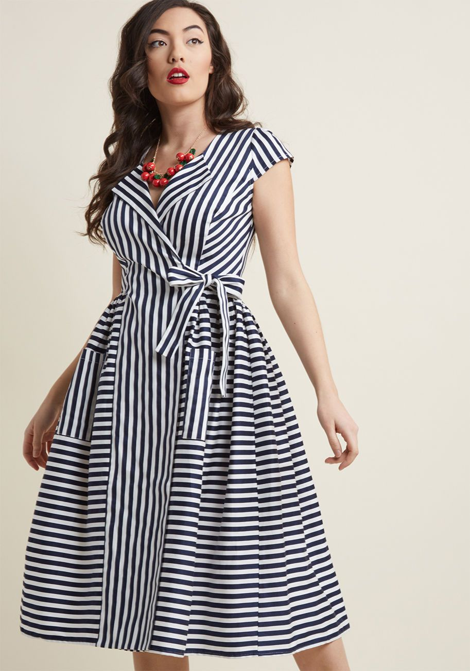 0076d91ad0 Collectif Ladylike Luncheon Midi Wrap Dress - A get-together with the gals  for a midday meal reveals itself as the perfect opportunity to debut this  retro ...