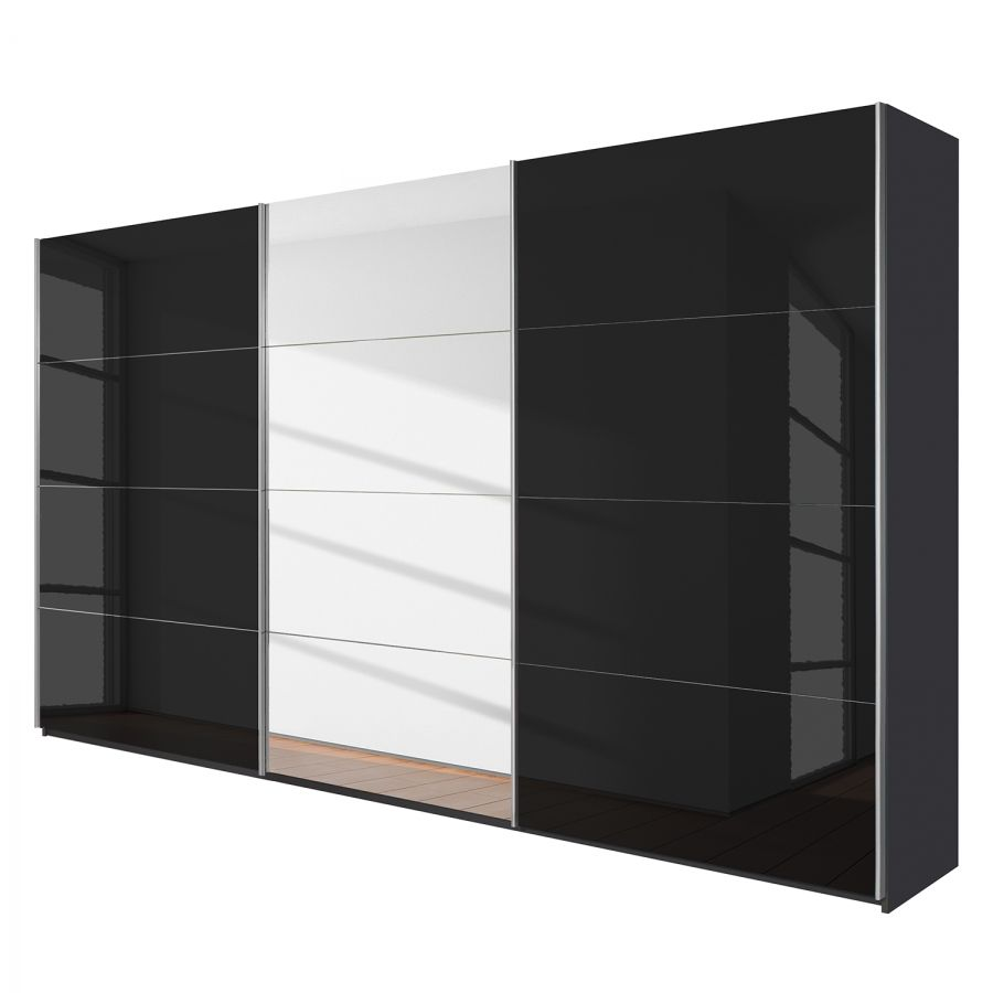 Schwebetürenschrank Quadra (Spiegel) | Metallic